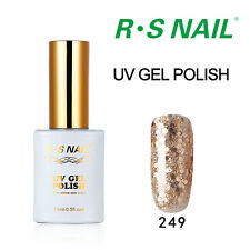 RS Nail 249 Gel Nail Polish UV LED Glitter Gold Sequined Gold Soak Off 15ml