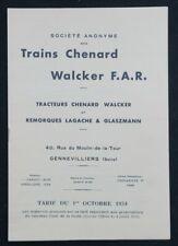 Brochure publicitaire automobile TRACTEUR CHENARD WALKER  tarif 1934 Lagache