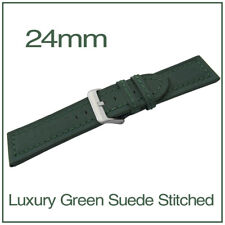 24mm Green Chunky Genuine Leather Suede Stitched Watch Strap + FREE Spring Bars