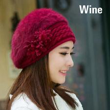 Women Fashion Winter Warm Flower Rabbit Fur Beanie Hat Knitted Sweater Caps
