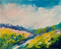Summer Day Dirt Tract Landscape Impressionist texture oil painting Semberecki
