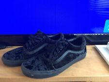 Vans Old Skool Velvet Black Black Sz Men's 9.5 Women's 11 Barely Used