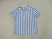 Ted Baker Button Up Shirt Adult Large Size 4 Blue White Striped Casual Mens