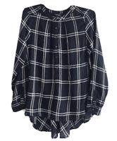 Lucky Brand Girlfriend Plaid Shirt Womens Size L Navy Blue Hi-low Half Button