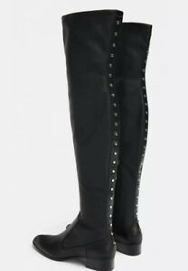 ZARA Overkneestiefel Leather Schwarz Boots Crotch Schwarz NEU