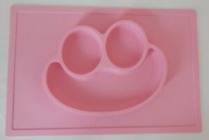 DINNER EATING PLATE BOWL CHILD PINK PLACEMAT ATTACHED HAPPY FACE SILICONE