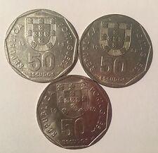 3 COINS PORTUGAL 50 ESCUDOS - 2x1988 and 1989
