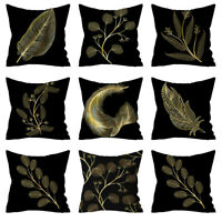 PillowCase Gold Plant Printed Polyester Cover Sofa Cushion Cover Home Decor
