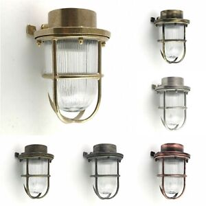 Solid Brass Bulkhead Wall Outdoor Indoor Light Industrial Style APOLLON