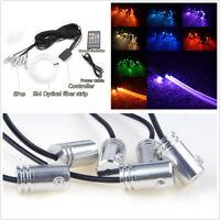 Car 6 RGB LED EL Strip Light Interior Decor Kit 8m Optical Fiber Remote Control