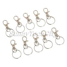 10Pcs Silver Swivel Lobster Clasps Trigger Clips Snap Hooks Bag Key Ring Finding
