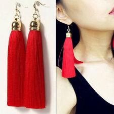 New Fashion Fringe Red Tassel Earrings Drop Women Vintage Clip Dangle Earrings