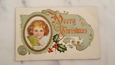 Antique Merry Christmas Postcard Embossed Little Girl Image