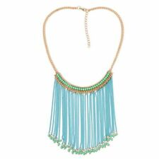 33Q new ladies tribal ethnic Simulated Aventurine Blue Colour Waterfall Necklace