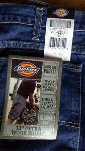 """Sz 40 NWT Dickies 13"""" Ultra Work Shorts Blue Denim Relaxed Fit Rivets NICE"""