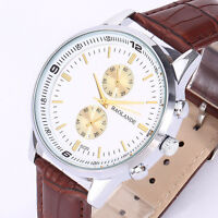 Mode Herren Sport Armbanduhr Edelstahl High-Grade Leder Militär WristWatch Uhr