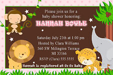 30 Jungle Invitations Baby Girl Shower or Birthday Party Invites Pink Brown A1