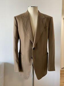Tom Ford Shelton Camel Cashmere Blazer Size 52 IT 42 R