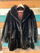 Vintage Lykafur Tissavel Faux Fur Jacket/coat Dark Brown Womens