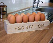 New Wooden Egg Station Egg Holder Storage Rack Egg Tray Container Holds 12 Eggs