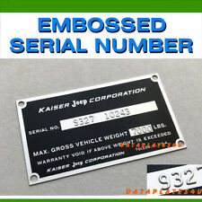 KAISER JEEP CORPORATION DATA SERIAL NUMBER PLATE STATION WAGON FC-150 170 TAG