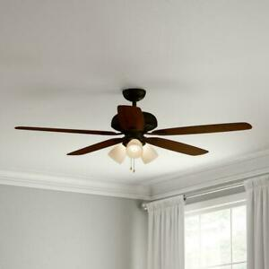 NEW!!  HAMPTON BAY Rockport 52 in. LED Oil Rubbed Bronze Ceiling Fan with Light