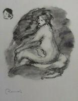 Auguste RENOIR (d'après) : Femme nue de profil - LITHOGRAPHIE signée  #MOURLOT