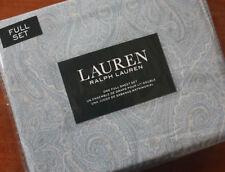 Ralph Lauren ~ FULL 4pc Sheet Set ~ Elegant Soft Sky Blue & Wheat Tan Paisley