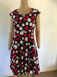 Tequila Sunrise cap sleeve navy with red white dots stretch cotton dress NWT