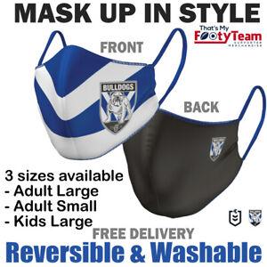 NRL Canterbury Bankstown Bulldogs Face Mask Reversible Washable-Large,Small,Kids