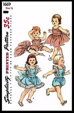 Infant BABY GIRL Romper PLAYSUIT Sunsuit Sewing Pattern Simplicity #1669 6mths