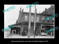OLD LARGE HISTORIC PHOTO OF SHARON PENNSYLVANIA, ERIE RAILROAD STATION c1910 2