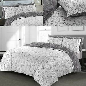 Printed Duvet Cover White Quilt Bedding Grey Bed Sets Double Super King All Size