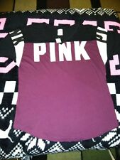 Victoria's Secret Pink Boyfriend Jersey Tee Shirt Deep Ruby Graphic S M NWT ❤️