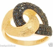 Size 8 Adi Paz .60ct tw Black Spinel Knot Design Ring Real 14K Yellow Gold QVC