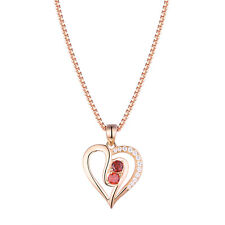 Rose Gold Pendant Chain Necklace For Women Red Ruby AAA Cz 925 Sterling Silver