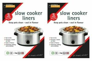 10x Slow Cooker Liners, Transparent, No Mess On Pots Bags, Oval Slow Cookers
