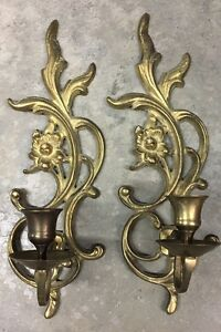 "Vintage PAIR of Solid Brass Flower Wall Sconces - Candle Holder Sconces - 11""H"