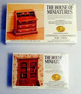 DOLLHOUSE 2 HOUSE OF MINIATURES KITS, DESK & CABINET TOP MAKE A FINE SECRETARY