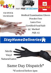100 Disposable Medical gloves Nitrile Vinyl Latex & powder free mechanic M L XL