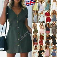 Women Button Down V Neck Mini Tea Dress Summer Short Sleeve Sundress Casual UK