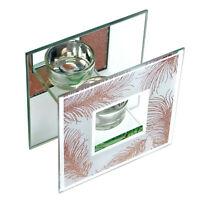 Rose Gold Glittering Feathers Tealight Holder Mirror Glass Ornament Centerpiece