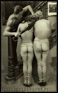 Original 1910 French Postcard Photo Voluptuous Nude Lesbian Girls Biederer