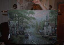 "MEMORIES OF CHRISTMAS HOMETOWN EVENING Wall Tapestry 36"" x 26"", Thomas Kinkade"