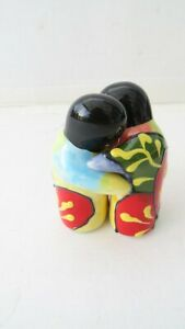 Rio Salado Hand Painted Hugging People Salt and Pepper Pots