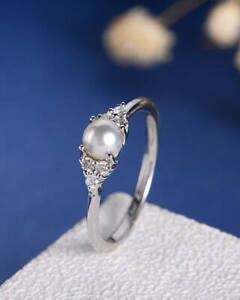 Fashion Wedding Rings for Women 925 Silver Jewelry White Pearl Ring Size 7