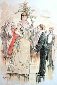 Christmas Party Cartoon 1891 TALL GIRL UNDER the MISTLETOE Matted Antique Print