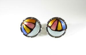 Cufflinks with Enamel Art Parachute or Monarch Colors by Lion Star