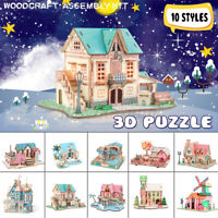 Wooden 3D DIY Jigsaw Puzzles Architecture Model Woodcraft Assembly Kit Kids Toy