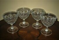 Lot of 4 Vtg L. E. Smith Sandwich Glass Moon and Stars Champagne/Tall Sherbet